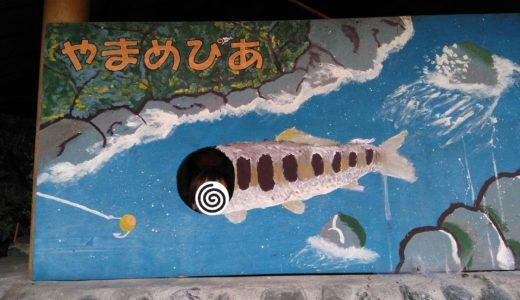 謎だらけのやまめぴあ(山梨)で猛暑の魚釣り。